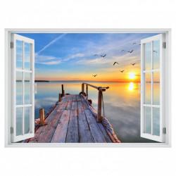 Stickere pentru pereți, Fereastra cu vedere spre un doc la apus de soare
