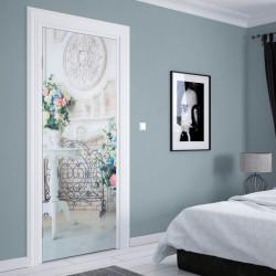 Stickerele decorative, pentru uși, Dimineața înflorită, 1 foaie de 80 x 200 cm