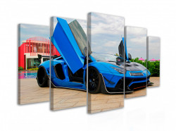 Tablou modular, Lamborghini albastru