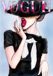 Tablouri Canvas, Fata în rochie neagră și pălărie