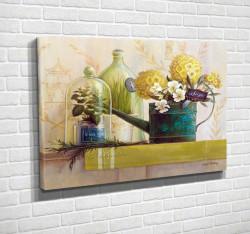Tablouri Canvas, Flori galbene într-o vază pe masă