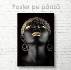 Poster, Africancă cu accesorii aurii