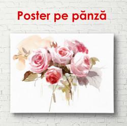 Poster, Buchetul de flori roz pe un fundal alb