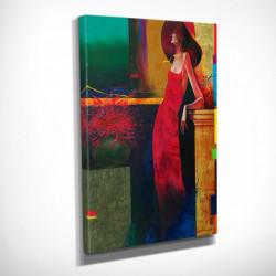 Poster, Fată în rochie roșie