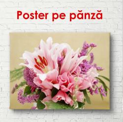 Poster, Flori frumoase roz într-o vază