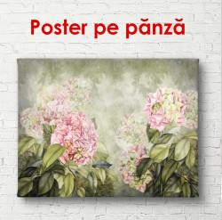 Poster, Flori roz delicate pe un fundal verde