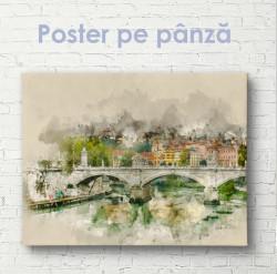 Poster, Oraș desenat în stil vintage