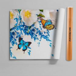 Stickere 3D pentru uși, Fluturi albaștri, 1 foaie de 80 x 200 cm