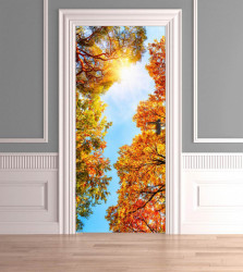Stickere 3D pentru uși, Frunze multicolore, 1 foaie de 80 x 200 cm