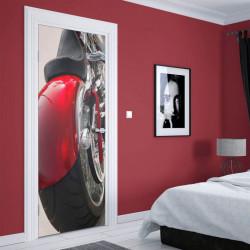 Stickere 3D pentru uși, Motocicleta roșie, 1 foaie de 80 x 200 cm