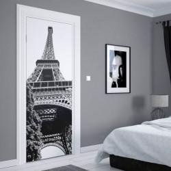 Stickere 3D pentru uși, Turnul Eiffel alb-negru, 1 foaie de 80 x 200 cm