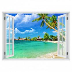 Stickere pentru pereți, Fereastră 3D cu vedere spre o plajă însorită