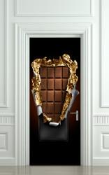 Stickerele decorative, pentru uși, Bara de ciocolată pe fondul negru, 1 foaie de 80 x 200 cm
