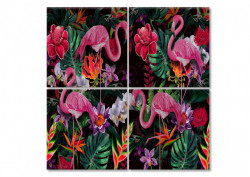 Tablou modular, Flamingo pe un fundal multicolor
