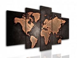 Tablou modular, Harta politică a lumii pe fundalul maro