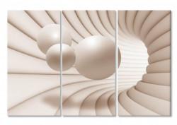 Tablou modular, Sfera 3D bej.