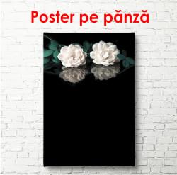 Tablou, Trandafiri albi pe fundal negru