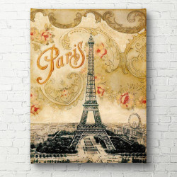 Tablouri Canvas, Turnul Eiffel pe un fundal galben