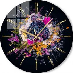Ceas de perete, Flori pe fundal negru