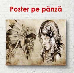 Poster, Fotografie a indienilor pe un fundal bej