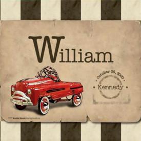 Poster, Mașina roșie pe un fundal roz