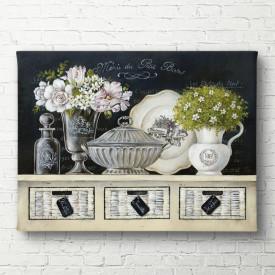 Poster, Vaze cu flori pe un sertar alb