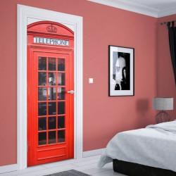 Stickere 3D pentru uși, Cabina telefonică , 1 foaie de 80 x 200 cm
