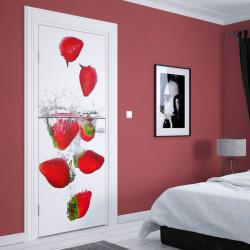 Stickere 3D pentru uși, Căpșuni sub apă , 1 foaie de 80 x 200 cm