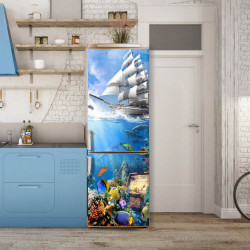 Stickere 3D pentru uși, Lumea subacvatică, 1 foaie de 80 x 200 cm