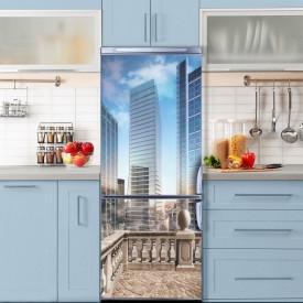 Stickere 3D pentru uși, Orașul cu clădiri înalte, 1 foaie de 80 x 200 cm