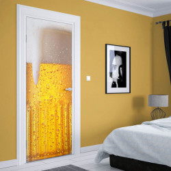 Stickere 3D pentru uși, Paharul cu bere rece, 1 foaie de 80 x 200 cm