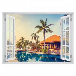 Stickere pentru pereți, Fereastra cu vedere spre o piscină de lux