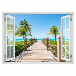 Stickere pentru pereți, Fereastră cu vedere spre un pod înconjurat de palmieri