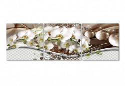 Tablou modular, Buchet de orhidee albe pe un fundal tridimensional