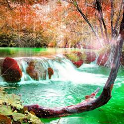 Tablou modular, Cascada în pădurea de toamnă.