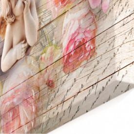 Tablou modular, Înger și bujori roz.