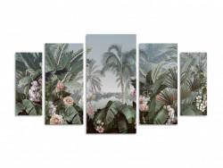 Tablou modular, Trandafiri și frunze de palmier