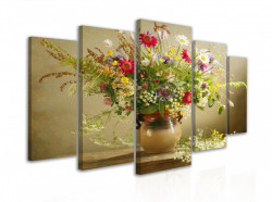 Tablou modular, Un buchet de flori de vară într-o vază