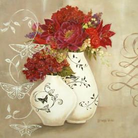 Tablouri Canvas, Flori roșii într-o vază albastră
