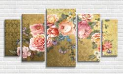 Multicanvas, Buchet de flori pe un fond auriu