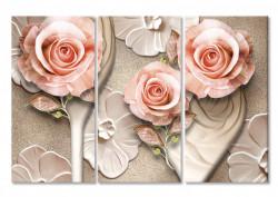 Multicanvas, Trandafiri fini pe un fundal bej.