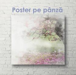 Poster, Copac în flori în ceață