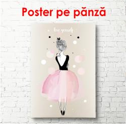 Poster, Fata frumoasă într-o fustă roz stă cu spatele