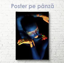 Poster, Fată în culori neon