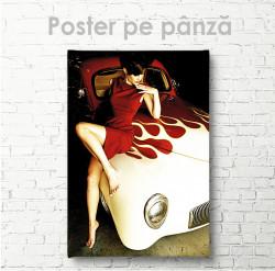 Poster, Lady în rochie roșie pe mașină vintage