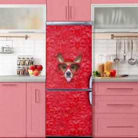Stickere 3D pentru uși, Câine cu ochelari roșii, 1 foaie de 80 x 200 cm