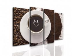 Tablou modular, Boabe de cafea și o ceașcă.