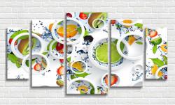 Tablou modular, Fructele pe un fundal de cercuri albe