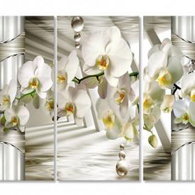 Tablou modular, Orhidee albă pe un fundal 3D