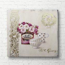 Tablouri Canvas, Căni albe pe un fond unui buchet cu flori roz